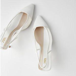 Zara mesh white heel slingback heels